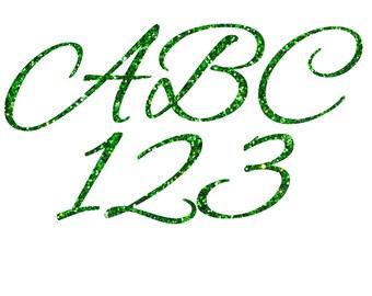 Green Glitter Cursive Alphabet,Green Glitter Alphabet,Green Glitter Letters,Digital Download