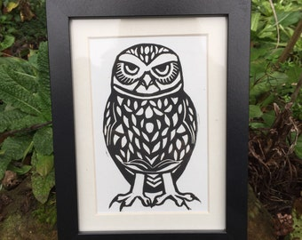 Little Owl bird linocut print - hand-pulled, limited edition