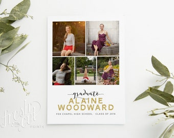 Printed Graduation Announcement Cards with Glitter Name -  Ceremony and Party Information