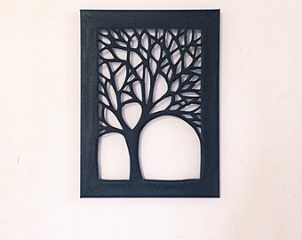 Black Canvas Cut Tree