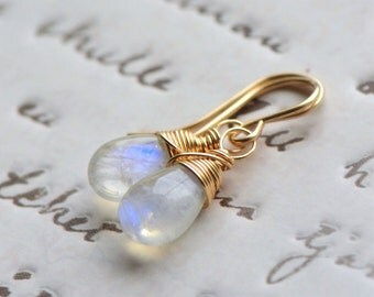 Moonstone Dangle Earrings Gold, Rainbow Moonstone Earrings Gold, Simple Moonstone Gemstone earrings wire wrapped 14k gold fill by Blissaria