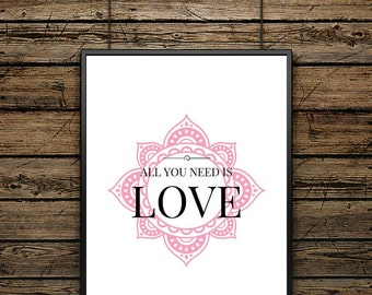 """Poster Quote """"All you need.."""""""" - Scandinavian Style- Wall decoration - Typographic Illustration - Gift - For Lovers"""