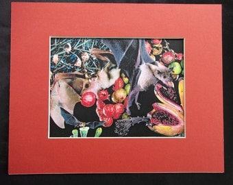 """Matted print, 8""""x 10"""", """"Feast of Bats"""", handmade from an original collage."""