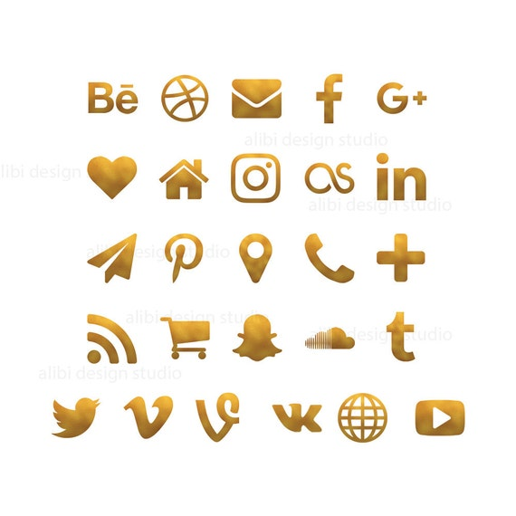 Social Media Icons Gold Foil Icons Gold Buttons Website