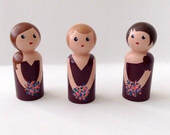 Personalized Bridesmaid Peg Dolls
