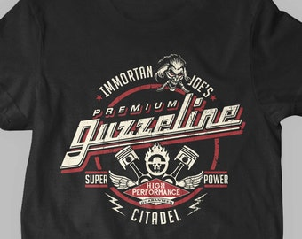 New Immortan Joe's Premium Guzzeline Mad Max Inspired Parody Fine Cotton Jersey Mens and Ladies Womens T-Shirt Unisex Adult Sizes