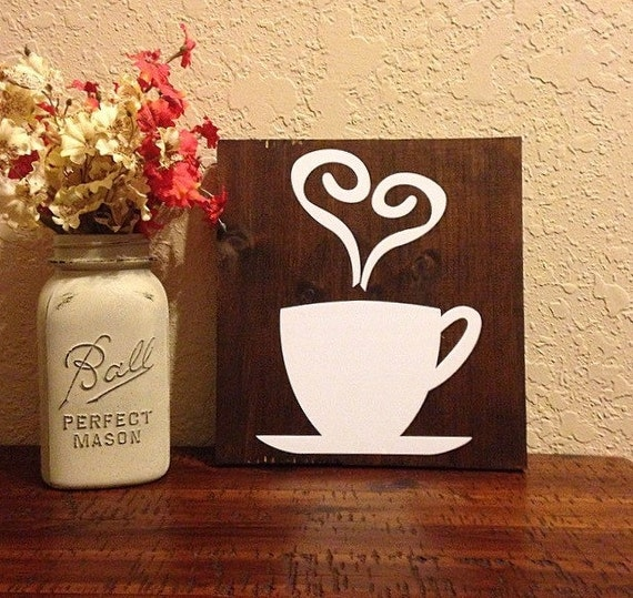 Coffee Decor For Kitchen: Wood Coffee Sign Rustic Kitchen Decor By CharminglyCraftedCF