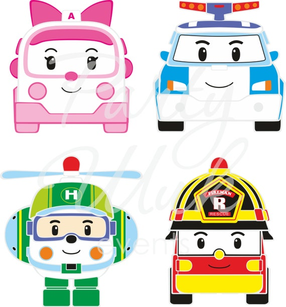 Robocar vector clipart by PartyChicUU on Etsy