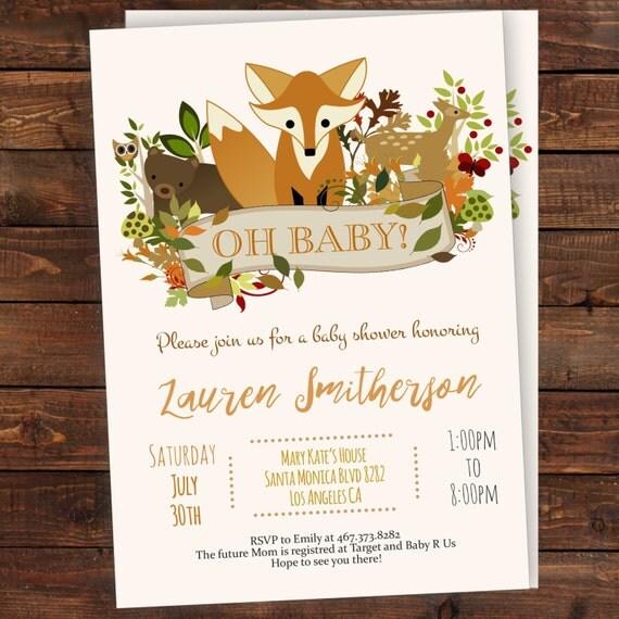 Baby Showers R Us Woodlawn ~ Woodland baby shower invitation editable