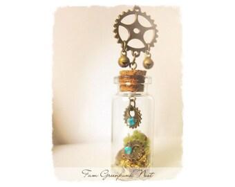 Greenpunk nest Steampunk necklace steampunk pendant vial necklace gift for her terrarium necklace steampunk jewelry vintage necklace gear