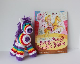 Crochet Horse with book Every Cowgirl needs a Horse; multicolored horse; stuffed toy
