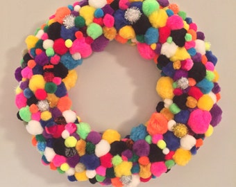 Multi-colored Pom Pom ball wreath - lots of bright cheerful colors!