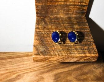 Royal Blue & Gold Clip On Earrings