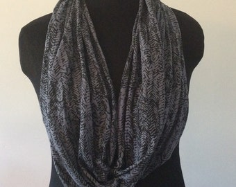 Dark gray chevron infinity scarf - jersey knit , circle scarf, fall, winter , fashion accessories womens, christmas Gift (free shipping)