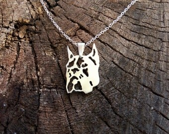 Sterling Silver Boxer Necklace, Boxer Necklace,Boxer Pendant, Silver Boxer, Sterling Boxer, Boxer Dog, Dogs Necklaces, Dogs Pendant, Boxer