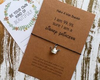 Make A Wish Bracelet / Charm Bracelet - I am 99.9% Sure I am a Disney Princess!