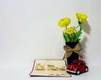 Crane/Truck Birthday Card, Pop up Birthday Card, Happy Birthday Card, Truck Card, Birthday Pop up card, Handmade Birthday card, Pop Up card