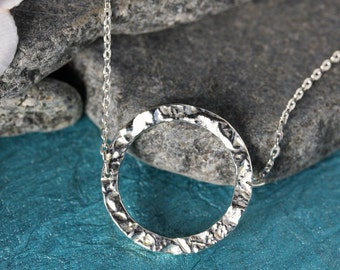 Karma Hammered Circle.....Sterling Silver, Karma Necklace, Eternity Necklace, Perfect Layering