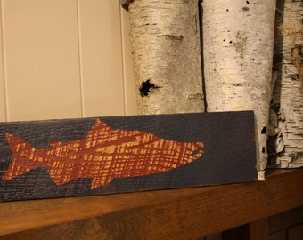 Rustic Wood Fish Sign - Wood Fish Sign - Reclaimed Wood Fish Sign - Wood Salmon Sign - Rustic Wood Salmon Sign - Home Decor - Cabin Decor
