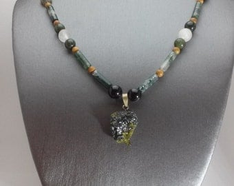 In Perfect Harmony: handmade necklace with green and black garnet, serpentine, moss agate, wood jasper, Canadian jade, quartz, & labradorite