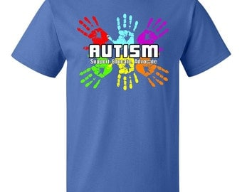 Autism Awareness Support, Educate, Advocate Colorful Hand Prints T-Shirt