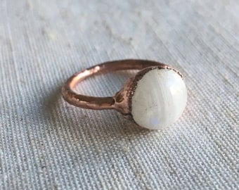 Copper Moonstone Electroformed Ring - Size 5.25