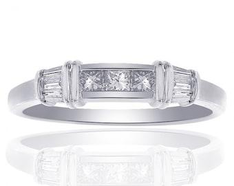 0.50 Carat Diamond Wedding Band 14K White Gold Ring