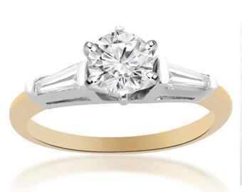 0.87 Carat G-SI1 Round Brilliant Cut Diamond Engagement Ring 14K Two Tone Gold
