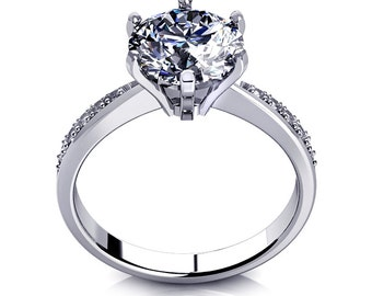 D/VVS1 Diamond Engagement Ring 2 Carat Round Cut 14k Yellow/White Gold Bridal Jewelry