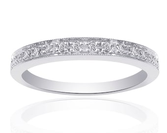 0.20 Carat Round Cut Brilliant Diamond Wedding Band 14K White Gold