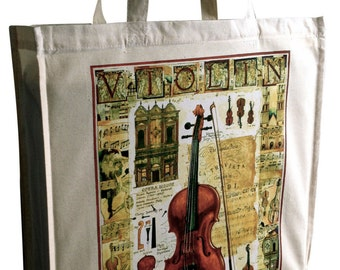 Violin | Cotton Bag Gusset & Long Handles Perfect Gift