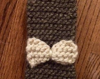 Gray & Cream Knitted Headband