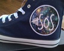 Hand painted 5 Seconds of Summer Galaxy converse style trainers