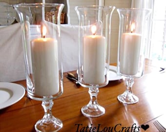 """Set Of (3) 13"""" Tall Candle Holders,Wedding Centerpieces, Table Centerpieces,Party Centerpieces, Flower Vases, Baptism Vases"""