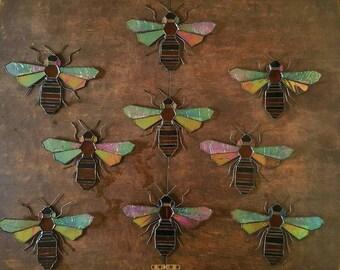 Bee, Stained Glass, Suncatcher, Honey Bee, Beekeeper Gift, Manchester Bee, Garden lover, Stripes, Honeycomb, Decoration, Nature Lover, Folk
