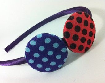 Satin headband, Buttons headband, Girls headband, Womens headband, Dotted fabric, Hair Accessory, Girl gift, Handmade, Black dotted, Red