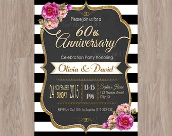 60th Anniversary Invitations, 60th anniversary, Black & Gold Wedding Anniversary, Black White Stripes 60 Anniversary Party Invites printable