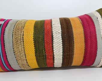 multicolor pillow striped kilim pillow Antique Pillow 12x24 Ethnic pillow home decor boho pillow cushion cover throw pillow SP3060-648
