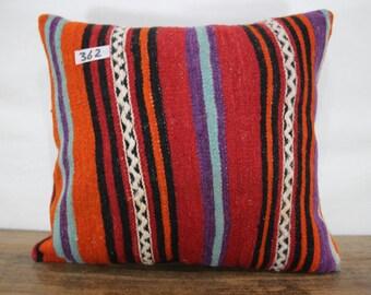 Multi color handwoven Turkish Kilim Pillow 16x18 Kilim Cushion Cover,Striped Kilim Pillowcase, Bohemian Pillow Decorative Pillow SP4040-362
