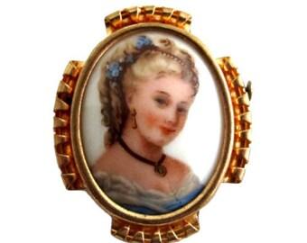 Vintage Limoges Hand Painted Porcelain Portrait Brooch
