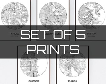 Set of 5 City Maps - Multiprint Discount - Any City in The world