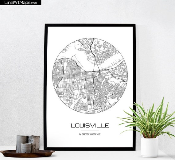 Louisville Map Print City Map Art Of Louisville Kentucky