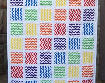 Rainbow Baby Zig Zag Quilt, Crib Blanket, Baby Bedding
