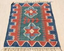 """Turkish Kilim Rug 3x4, Geometric Kilim, Wool, Handwoven, Kilim Rug Area Rug 36""""x50"""" -305"""