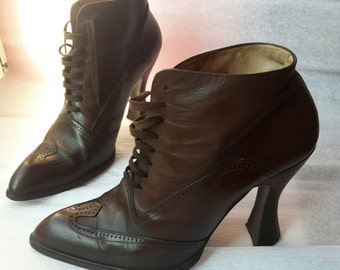 BLAY Real Leather Brown Tie Ankle Boots