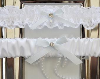 Wedding Garter Set, Bridal Garter, Keepsake Garter, White Wedding Garter, White Satin Garter, White Garter Set