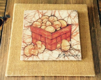 Vintage MidCentury Modern Art by L.S. Muldowney/Mushrooms