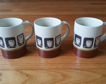 Mid Century Owl Mug Set of Three Otagiri