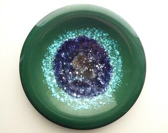 Green ceramic plate starry sky | Sardinia ceramics | vintage ceramics | vintage decoration | wall hanging ceramics