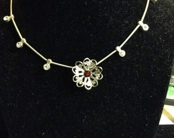 Red Stone Flower Necklace
